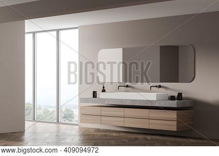Light Wooden Bathroom With Two Sinks And Oval Mirror, Side View, Near Window. Minimalist Beige Desig
