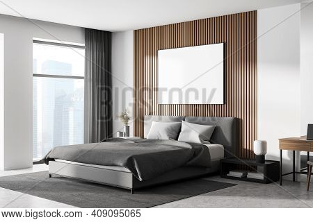 White Bedroom Interior With Concrete Floor, A Large Window, A Gray Bed And Two Bedside Tables. A Cab