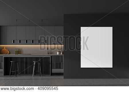 Mockup Canvas Copy Space In Grey Kitchen Room With Table And Two Bar Chairs, Marble Floor. Kitchen O