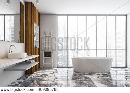White And Wooden Bathroom With Sink, White Bathtub Near Window, Front View. White Stylish Bathroom W