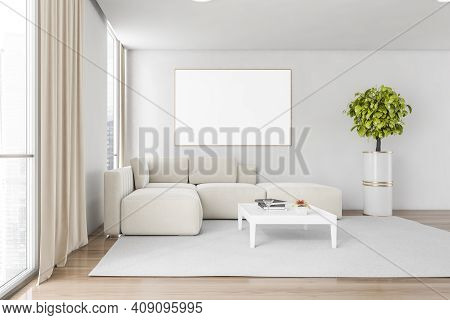 White And Wooden Living Room With White Corner Sofa On White Carpet, Parquet Floor. Coffee Table Wit