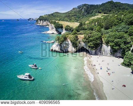 Arial View Of Cathedral Cove In Coromandel Peninsula, New Zealand