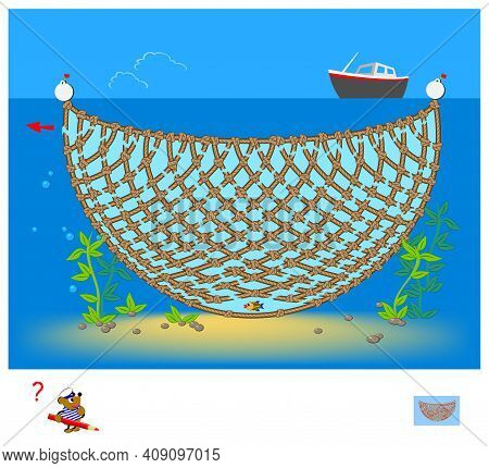Logic Puzzle Game With Labyrinth For Children And Adults. Help The Fish Get Out Of The Fishing Nets.