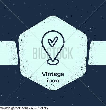 Grunge Line Map Pin With Check Mark Icon Isolated On Blue Background. Navigation, Pointer, Location,