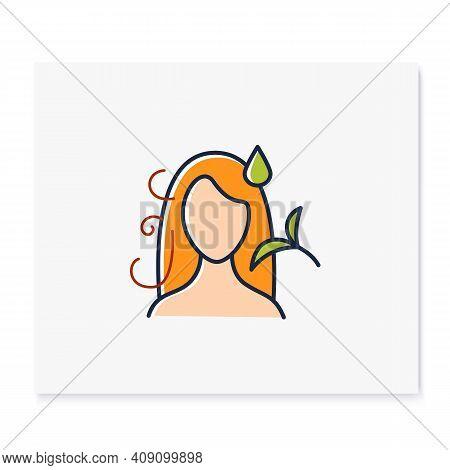Hair Detangler Color Icon. Beauty Parlor. Hairdresser Services, Spa Procedures. Hair Vegetable Glyce