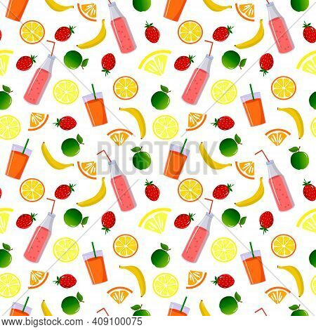 Pattern With Fruits, Lemonade And A Bottle Of Smoothies. Fresh Fruits - Strawberry, Banana, Apple An