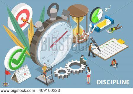 3d Isometric Flat Vector Conceptual Illustration Of Discipline And Self Control.