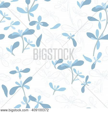 Seamless Pattern With Colored And Outlined Thyme Leaves And Twigs. Thymus Vulgaris Branches And Leav