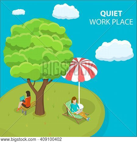 3d Isometric Flat Vector Conceptual Illustration Of Quiet Workplace.