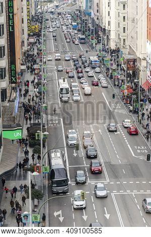 Madrid, Spain - February 6, 2016: Panoramic Top View Of Gran Via In Madrid One February Afternoon Be