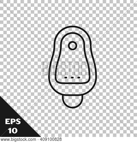 Black Line Toilet Urinal Or Pissoir Icon Isolated On Transparent Background. Urinal In Male Toilet.
