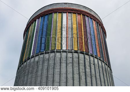 Langreo, Asturias, Spain - 02 October, 2020: Detail Of The Cooling Tower Of The Museum Of The Sideru