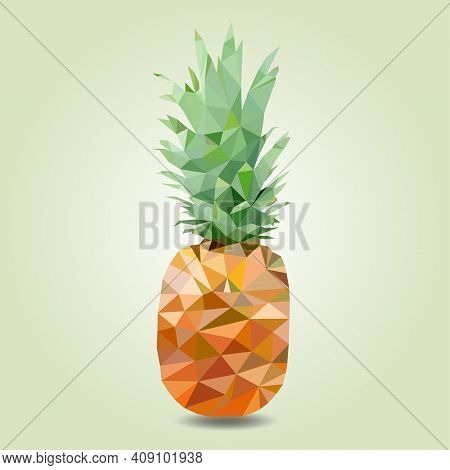 Pineapple, Vector Image On A Square Background. Pineapple Triangulation Technique. Label Design Elem
