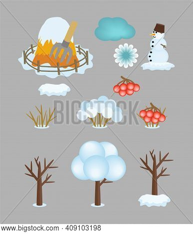Set Of Kids Cartoon Winter Icons Isolated On Gray Background. Vector Cliparts Of Bare And Snow-cover