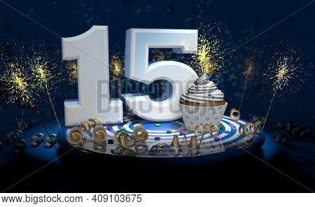 Cupcake With Sparkling Candle For 15th Birthday Or Anniversary With Big Number In White With Yellow