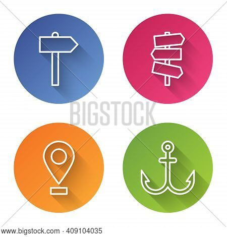 Set Line Road Traffic Signpost, Road Traffic Signpost, Location And Anchor. Color Circle Button. Vec