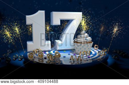 Cupcake With Sparkling Candle For 17th Birthday Or Anniversary With Big Number In White With Yellow