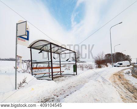 The Deep Snow And Snowdrift Around Glassy Bus Station. Shine Of Snow White