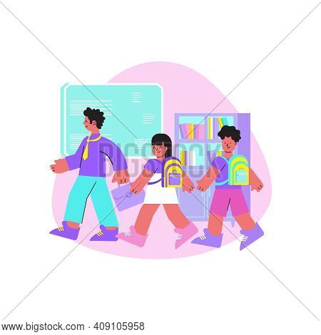 School Flat Composition With College Classmate Pupils Walking Carrying Their Things Vector Illustrat