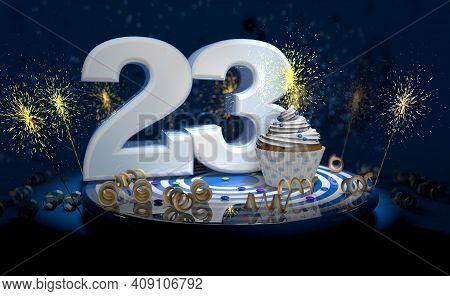 Cupcake With Sparkling Candle For 23th Birthday Or Anniversary With Big Number In White With Yellow