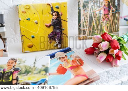 Photography Printed On Canvas With Gallery Wrap Method Of Canvas Stretching. Photo Of Active Little