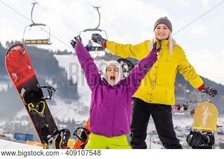 Winter, Ski, Snow And Sun - Family Enjoying Winter Vacation