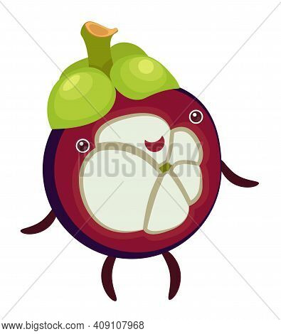 Cartoon Funny Character Fruit Mangosteen On White Background
