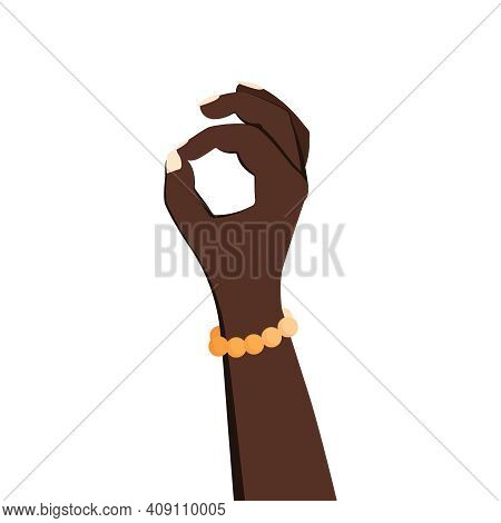 Ok Hands Flat Composition With Isolated Human Hand Okay Gesture Images On Blank Background Vector Il