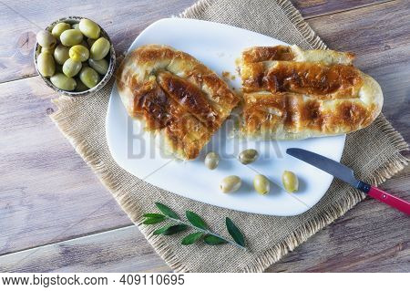 Balkan Cuisine. Burek With Meat -  Popular National Dish - In White Plate On Rustic Table. Copy Spac