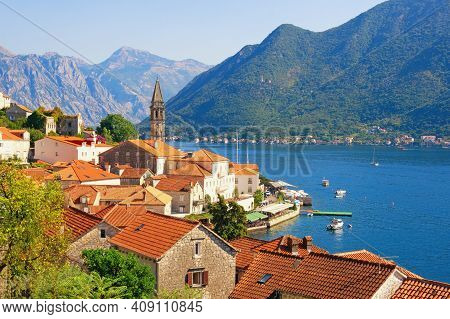 Beautiful Mediterranean Landscape. Montenegro, Kotor Bay. View Of Ancient Town Of Perast On Sunny Su