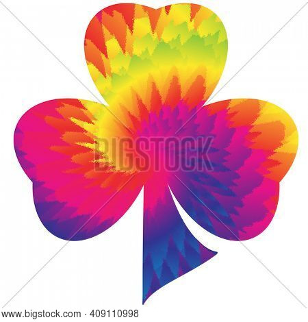 Tie Dyed Three Leaf Clover Isolated on White