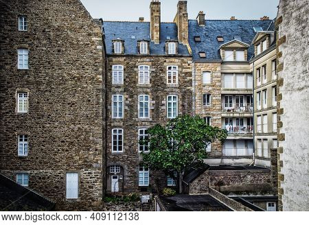St-malo, France, Sept 2020, View Of Some Buildings Of The City From The Ramparts