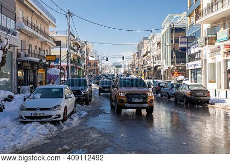 Snow On The Streets Of Athens, Greece, 17th Of February 2021.