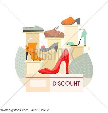 Footwear Designer Shoemaker Shop Flat Composition With Shoes Sale Shop Display Vector Illustration