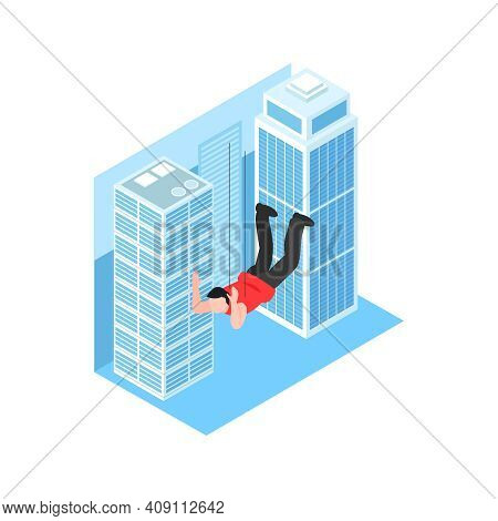 Isometric Cinematography Composition With Isolated Character Of Stunt Boy Falling At Tall Buildings