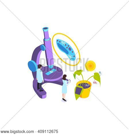 School Subjects Isometric Composition With Image Of Plant Under Microscope With Human Characters Vec