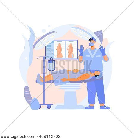 Plastic Surgery Clinic Treatment Flat Composition With Indoor View Of Surgery Room With Doctor And P