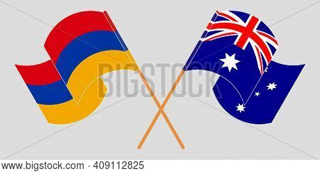 Crossed And Waving Flags Of Armenia And Australia. Vector Illustration