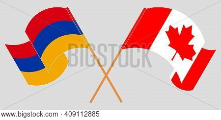 Crossed And Waving Flags Of Armenia And Canada. Vector Illustration