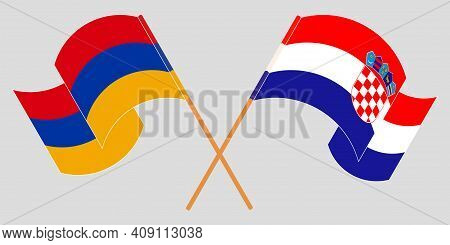 Crossed And Waving Flags Of Armenia And Croatia. Vector Illustration