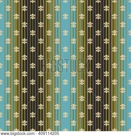 Foulard Tie Pattern On Ombre Stripe, Seamless, Victorian Motives, Greek Urn Motives.