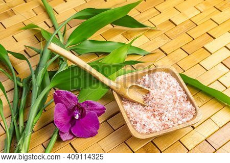Spa, Zen, Massage Concept. Pink Himalayan Bath Salt With Spoon, Bamboo Leaves, Purple Orchid, Soap I