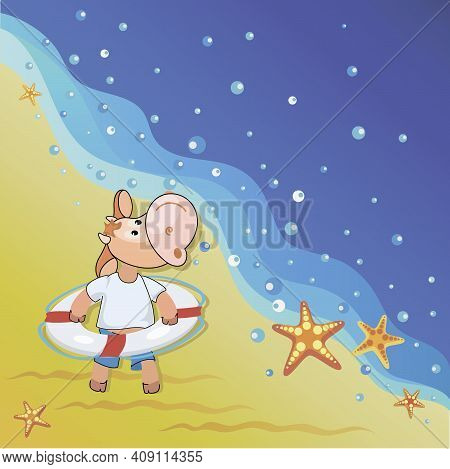 Calf. Beach. Summer Rest. Funny Calf With A Lifebuoy On The Background Of The Seascape. Cartoon Styl