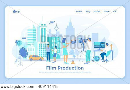 Film Production. Outdoor Filmmaking Scene. Shooting Film With Actors, Camera, Light, Microphone. Mov