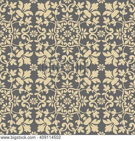 Damask Tile Pattern, Seamless, Victorian Motives, Greek Urn Motives.