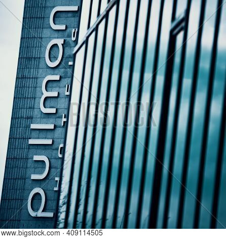 Bucharest, Romania - January 20, 2021: The Pullman Hotel Logo Can Be Seen On The Building Of Pullman