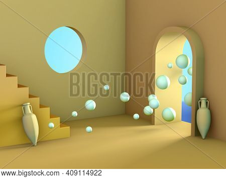 Minimalistic room interior with a surreal atmosphere. 3D illustration.