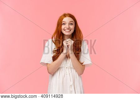 Waist-up Portrait Lovely Happy And Excited, Redhead Girl In Cute Dress, Hold Hands Hopeful Together