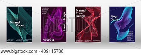 Minimum Vector Coverage. A Set Of Modern Abstract Covers. Creative Backgrounds From Abstract Lines T