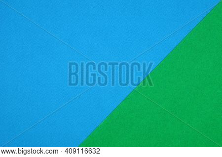 Plain Green And Blue Background. Green And Blue Cardboard. Green And Blue Paper Texture Background.